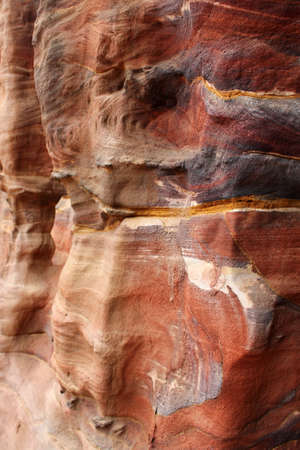 stratification: Sandstone gorge abstract pattern formation, Rose City cave, Siq, Petra, Jordan