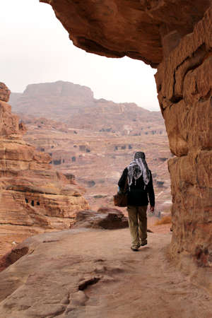 Trekking in the canyon gorge formation  Ancient city of Petra, UNESCO World Heritage Site  Jordan Stock Photo - 16372227