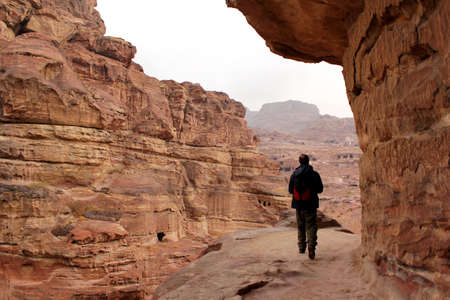 Trekking in the canyon gorge formation  Ancient city of Petra, UNESCO World Heritage Site  Jordan