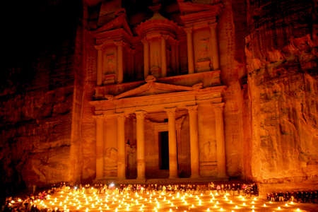 The treasury at Petra  by night, Lost rock city of Jordan  Petra