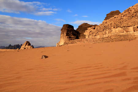 Sand pattern and beautiful landscape of the wadi rum desert in Jordan  photo