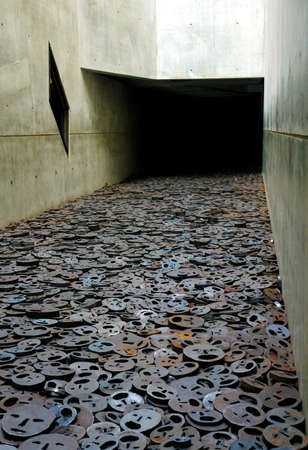 Jewish museum interior detail, Shalechet  Fallen Leaves  in a section of the �Void �, Berlin, Germany, project of the architect Daniel Libeskind
