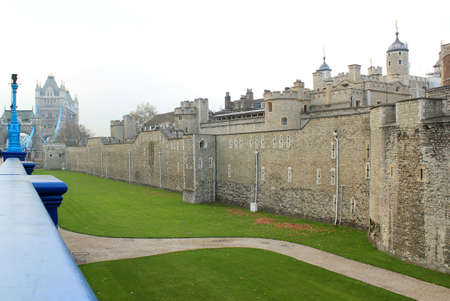 The Tower of London , ancient city center, medieval castle and prison  London, UK