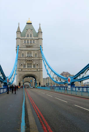 Famous London Tower Bridge, above Thames River, UK Stock Photo