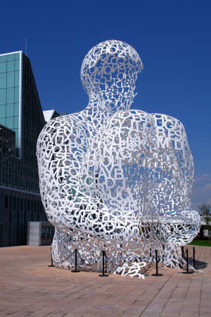 The modern sculpture by Artist Jaume Plensa  Zaragoza  Spain   El alma del Ebro was created for the International Exposition in Zaragoza