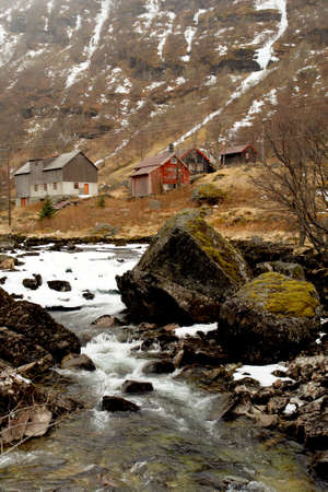 Norway tipical rural hut and river lanscape                                      Stock Photo - 16630810