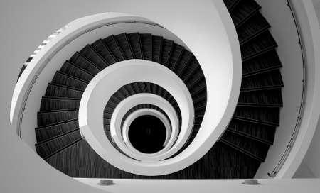 spiral stairway: Spiral modern stairs detail pattern Stock Photo
