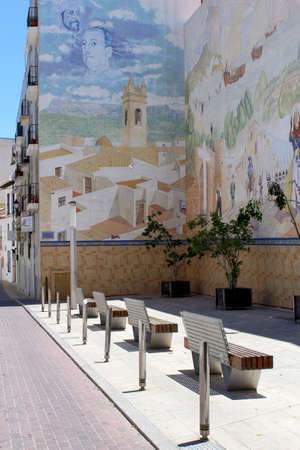 Painted Mural at Plaza D  Manuel Miro, calle mar, historic old town center, Calp, Spain  Mediterranean spanish coastal city  Costa Blanca