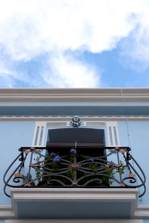 Calpe  Mediterranean Spanish coastal city historic old town center  Tradicional house balcony detail  photo