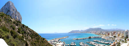 Panoramic view over Calp beach and famous Natural Park of Peñón de Ifach  Spain