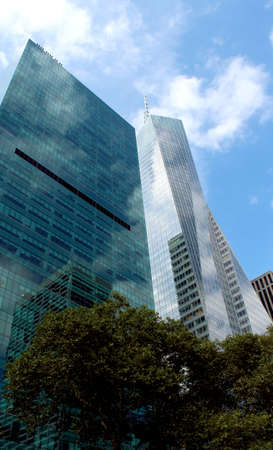 Midtown Manhattan highrise buildings as seen from Bryant Park, New York City photo
