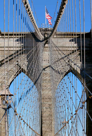 hudson river: New York City, Famous historic Brooklyn Bridge in Manhattan over Hudson River.  Stock Photo
