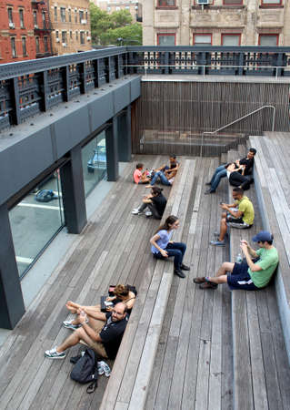 elevated walkway: High Line   Elevated pedestrian Park and former elevated New York Central Railroad spur called the West Side Line, which runs along the lower west side of Manhattan; it has been redesigned and planted as an aerial greenway  New York City