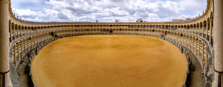 plaza de toros: The Plaza de toros de Ronda, the oldest bullfighting ring in Spain  It was built in 1784 in the Neoclassical style by the architect José Martin de Aldehuela, The arena has a diameter of 66 metres  217 ft , surrounded by a passage formed by two rings of s