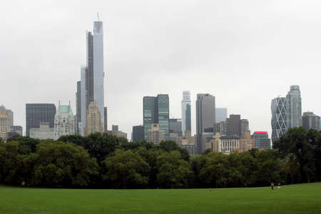 central park: Central Park in an autumn cloudy day, facing south, from the softball fields Stock Photo