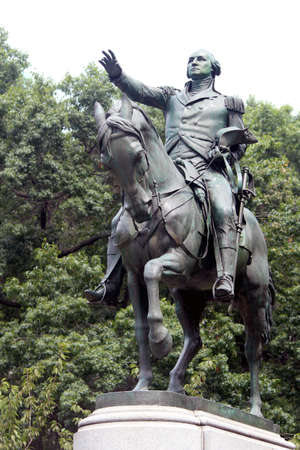 george washington statue: Equestrian statue of General George Washington, in the south side of Union Square. New York City