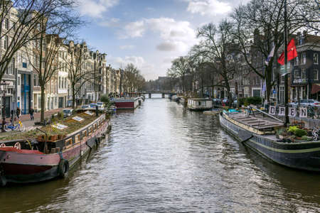 dutch canal house: View of famous city canals (Prinsengracht) of Amsterdam, The Netherlands. Editorial