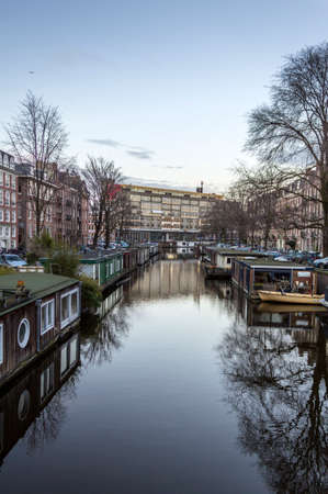 dutch canal house: View on  city canals of Amsterdam, Netherlands. Editorial