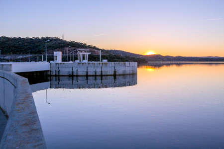 constitutes: Alqueva Dam lake. It impounds the River Guadiana, on the border of Beja and Evora Districts in south of Portugal and constitutes one of the largest dams and artificial lakes (250 km²) in Western Europe.