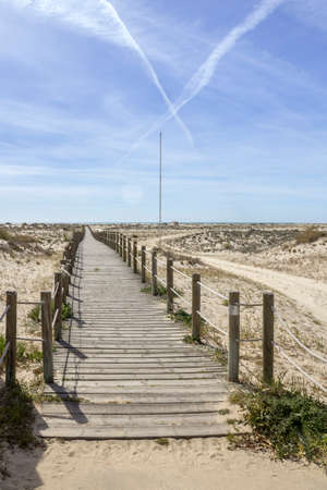 region of algarve: Ria Formosa wetlands natural conservation region landscape, View of Armona cost beach, one of the islands. Algarve, southern Portugal.