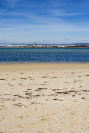 region of algarve: Ria Formosa wetlands natural conservation region landscape, View of Armona inland beach, one of the islands. Algarve, southern Portugal.