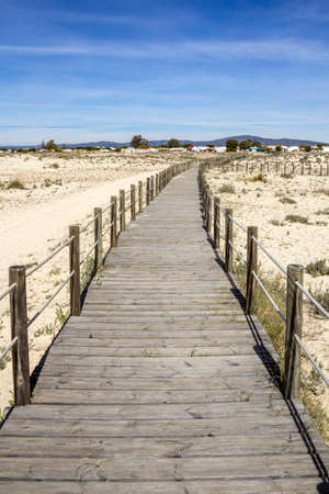 region of algarve: Ria Formosa wetlands natural conservation region landscape, View from Armona cost beach, one of the islands. Algarve, southern Portugal. Stock Photo