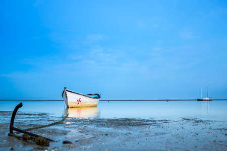 ria: Algarve Cavacos beach twilight  landscape at Ria Formosa wetlands reserve southern Portugal famous nature destination. Editorial