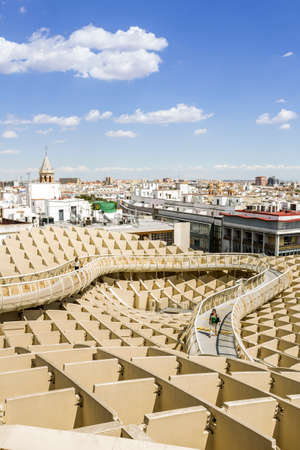 metropol parasol: SEVILLE SPAIN  MAY 2014: Panoramic view in the top of Metropol Parasol in Plaza de la Encarnacion on 31 of May 2014 in SevillaSpain. the extraordinary new Seville Market Hall an attractive destination for tourists and locals alike. Projected by J. Mayer H