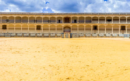 plaza de toros: The Plaza de toros de Ronda the oldest bullfighting ring in Spain. Built in 1784 in Neoclassical style by architect Jos Martin de Aldehuela The arena has a diameter of 66 metres surrounded by a passage formed by two rings of stone and 136 pillars that mak Editorial