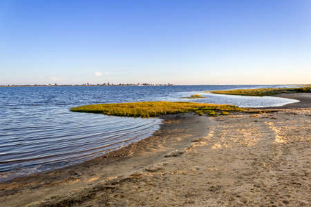 formosa: Algarve Cavacos beach twilight  landscape at Ria Formosa wetlands reserve, southern Portugal, famous nature destination.