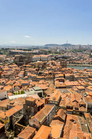 ribeira: Panoramic view of old downtown, Porto cityscape, UNESCO World Heritage Site, on a summer day, Portugal.