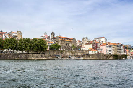 patrimony: Panoramic view of old downtown, Porto cityscape, on a summer day, Portugal. Stock Photo