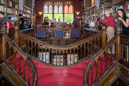 bookstores: PORTO, PORTUGAL - JULY, 04: People visiting famous bookstore Livraria Lello, establishment in 1919 it is one of the oldest bookstores in Portugal, on July 04, 2015 in Porto.
