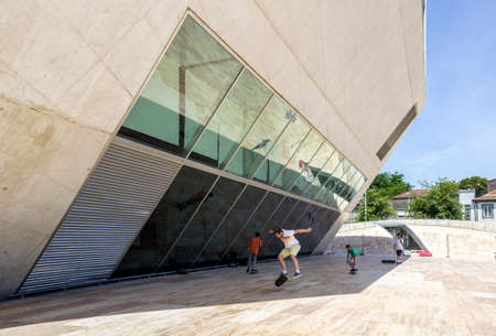 exclusively: PORTO, PORTUGAL - JULY 05, 2015: View of Casa da Musica - House of Music Modern Oporto Concert Hall, the first building in Portugal exclusively dedicated to music, designed by the Dutch architect Rem Koolhaas in Porto, Portugal on JULY 05, 2015.
