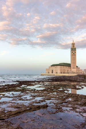 patrimony: View on seafront of Grande Mosque Hassan II in Casablanca, completed in 1993 is the largest mosque in Morocco and the 7th largest in the world. Stock Photo