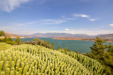 barrage: Panoramic view over Barrage Bin El-Ouidane, high Atlas, Morocco. Stock Photo