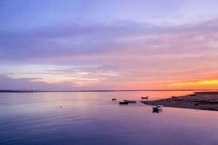 Ria Formosa wetlands natural conservation region landscape, sunset view from Olhao port. Algarve, Portugal.