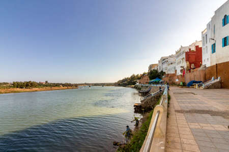 adobe wall: Azemmour, view from ancient fortress walls built in stone and adobe to Oum Er-Rbia river, El Jadida, Morocco.