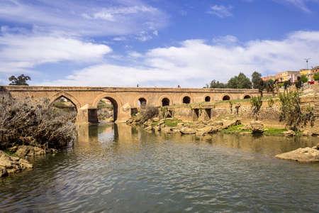 View over Oum Errabia river bridge to Kasba Tadla city in Beni-Mellal Province,Tadla-Azilal, Morocco.