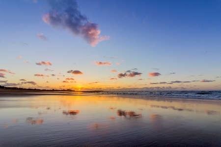 Sunset Atlantic Ocean view at Tamarist beach, in Casablanca south coast. Morocco.