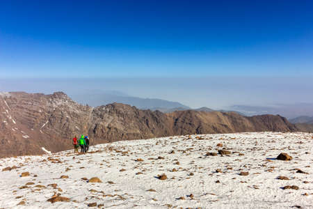 wanderlust: Toubkal national park, the peak whit 4,167m is the highest in the Atlas mountains and North Africa, trekking trail panoramic view. Morocco Editorial