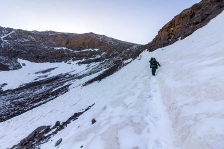 wanderlust: Toubkal national park, the peak whit 4,167m is the highest in the Atlas mountains and North Africa, trekking trail. Morocco