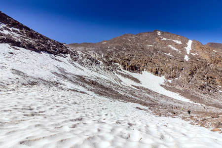 wanderlust: Toubkal national park, the peak whit 4,167m is the highest in the Atlas mountains and North Africa, trekking trail panoramic view. Morocco Stock Photo