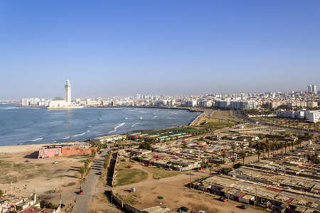Lighthouse El Hank top panoramic view to Grande Mosquee Hassan II and Casablanca, Morocco.