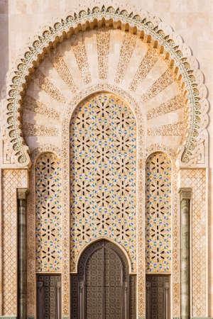 Grande Mosque Hassan II, architectural detail, in Casablanca, Morocco.