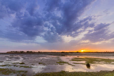 formosa: View of Olhao salt marsh Inlet waterfront to Ria Formosa natural park, famous nature destination. Algarve. Portugal.