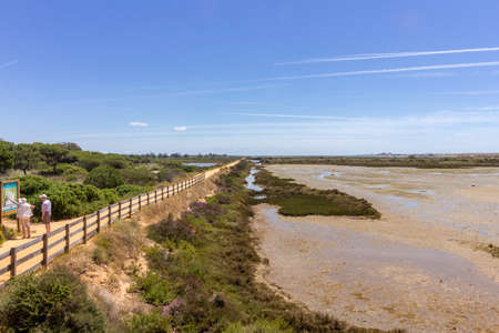 Algarve QDL landscape at Ria Formosa wetlands reserve, southern Portugal, famous nature destination. Stock Photo