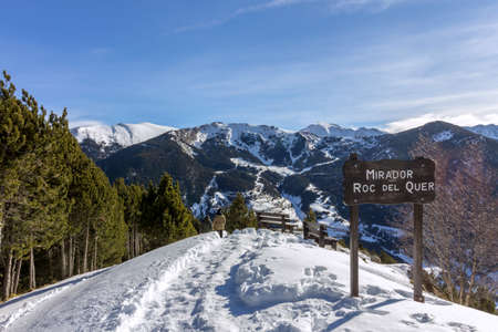 Roc Del Quer sightseeing trekking trail. Principality of Andorra.