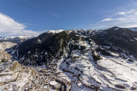 Village of Canillo view from observation deck, in Roc Del Quer trekking trail. Principality of Andorra. Stock Photo