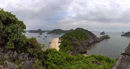 Monkey island beach panoramic scenario Lan Ha bay, landmark destination, Cat Ba islands (South of Halong bay), Vietnam.